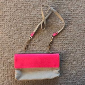 Bright pink and cream leather cc skye crossbody